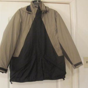 Land's End Womens Gray&Black Hooded Coat Size L.